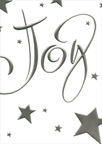 Joy with Silver Foil Stars (1 card/1 envelope) - Holiday Card - FRONT: Joy  INSIDE: Best wishes for a bright and happy holiday.