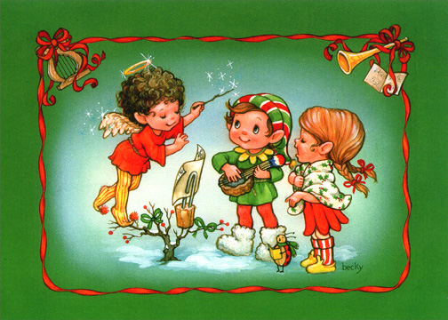 Choir of Elves (1 card/1 envelope) - Christmas Card - FRONT: No Text  INSIDE: Sing a song of love and cheer now that the holidays are here!