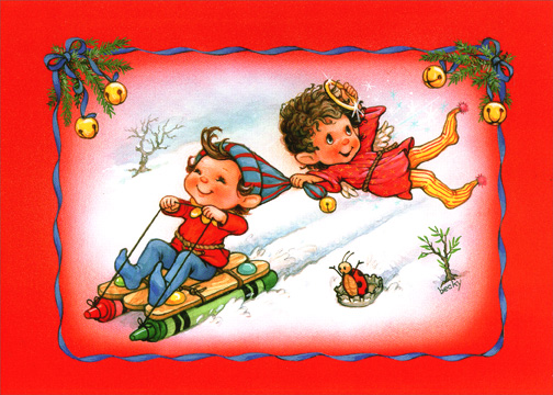 Crayon Sled (1 card/1 envelope) Christmas Card - FRONT: No Text  INSIDE: May your Christmas be filled with laughter and fun.