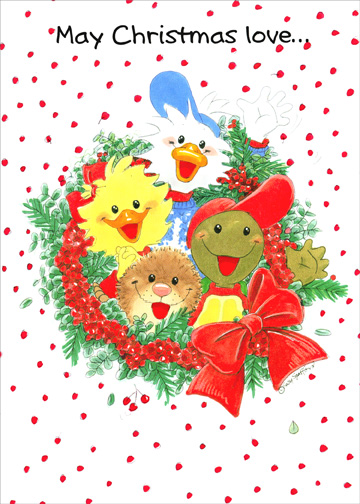 Suzy's Zoo - Wreath (1 card/1 envelope) Christmas Card - FRONT: May Christmas love..  INSIDE: ..surround you and yours! Merry Christmas and Happy New Year!