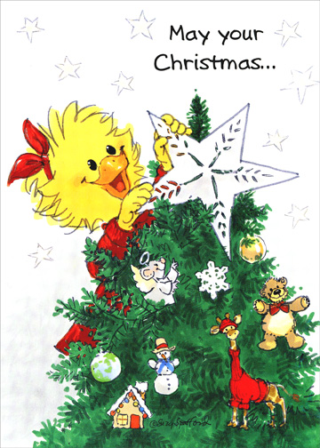 Suzy's Zoo - Star on Tree (1 card/1 envelope) Christmas Card - FRONT: May your Christmas..  INSIDE: ..be merry and bright!