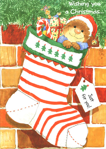 Suzy's Zoo - Stocking Stuffers (1 card/1 envelope) Christmas Card - FRONT: Wishing you a Christmas..  INSIDE: ..that tickles you right down to your toes!