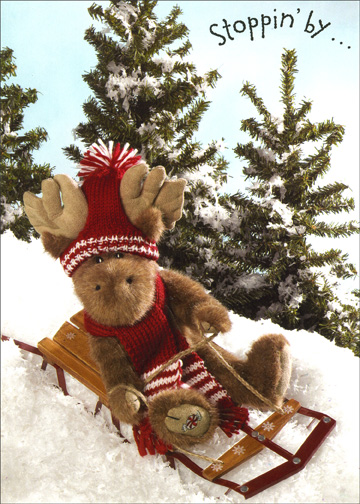 Boyds Moose Sledding (1 card/1 envelope) - Holiday Card - FRONT: Stoppin' by . . .  INSIDE: . . . with a holiday 'hi'.