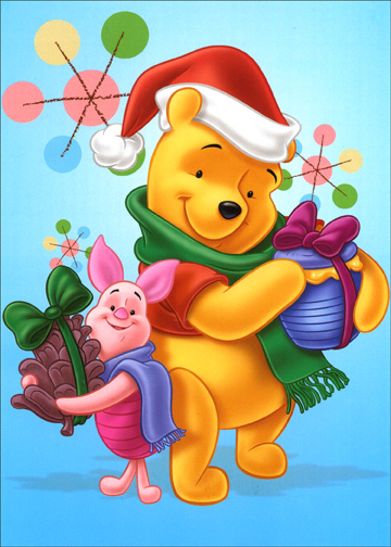 Pooh & Piglet Gift Exchange (1 card/1 envelope) - Holiday Card - FRONT: No Text  INSIDE: Happy greetings to you and yours this holiday season.
