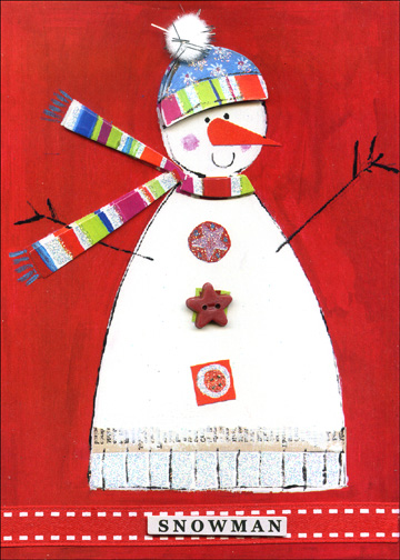 Snowman Petite Handmade (10 cards & 10 envelopes) - Boxed Holiday Cards - FRONT: Snowman  INSIDE: Wishing you a fun-filled holiday!