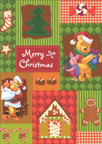 Pooh Red Patchwork (18 cards & 18 envelopes) Disney Boxed Christmas Cards - FRONT: Merry Christmas  INSIDE: Tis the season..  Enjoy!