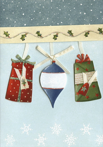 Present Ornament (1 card/1 envelope) Handmade Christmas Card - FRONT: No Text  INSIDE: Decorate your Christmas with happiness!