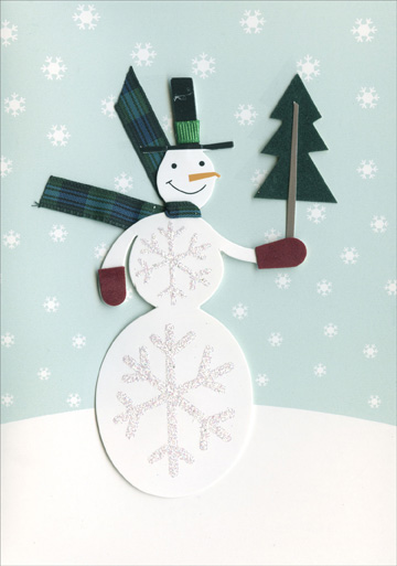 Snowman Holding Tree (8 cards & 8 envelopes) Handmade Boxed Holiday Cards - FRONT: No Text  INSIDE: A warm and friendly wish for a very happy holiday!