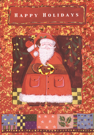 Waving Fat Santa (1 card/1 envelope) Handmade Christmas Card - FRONT: Happy Holidays  INSIDE: ..and many happy days to follow!