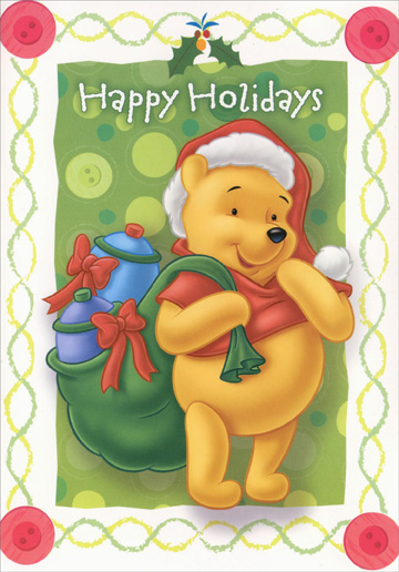 Pooh with Honey Pots in Sack (18 cards/18 envelopes) - Boxed Christmas Cards - FRONT: Happy Holidays  INSIDE: Happiness is found when Christmas is around!