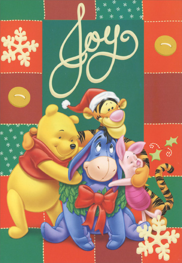 Joy Pooh with Friends (1 card/1 envelope) - Christmas Card - FRONT: Joy  INSIDE: A warm and friendly wish for the merriest Christmas ever!