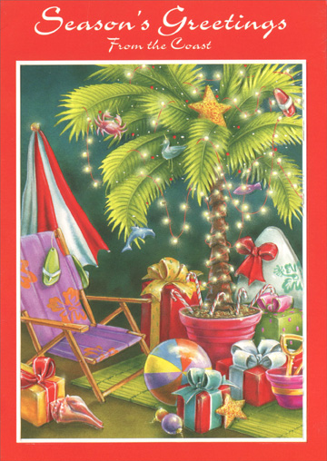 Decorated Beach at Night (18 cards/18 envelopes) Paper Magic Warm Weather Boxed Holiday Cards - FRONT: Season's Greetings From the Coast  INSIDE: Here's to happiness, here�s to health, here�s to excessive decorating!  Best Wishes for the Holidays