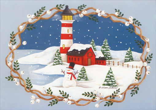 Lighthouse & Snowman in White Holly Berry Border (18 cards/18 envelopes) Paper Magic Boxed Holiday Cards - FRONT: no text  INSIDE: May your holidays be full of joy and your new year bright with happiness!