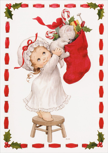 Girl Holding Kitten to Stocking (1 card/1 envelope) Paper Magic Ruth Morehead Christmas Card - FRONT: no text  INSIDE: May your Christmas be merry and bright ..filled with surprises and filled with delight!