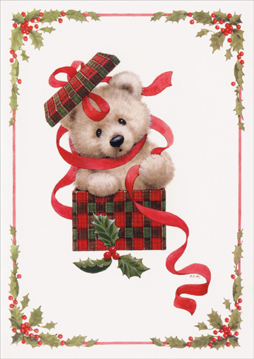 Teddy Bear in Present (1 card/1 envelope) Paper Magic Ruth Morehead Holiday Card - FRONT: no text  INSIDE: Hope your surprises come in all shapes and sizes!  Happy Holidays