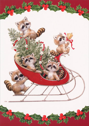 Raccoons in Sled (1 card/1 envelope) Paper Magic Ruth Morehead Christmas Card - FRONT: no text  INSIDE: Hope you have a Christmas that's as merry as can be!