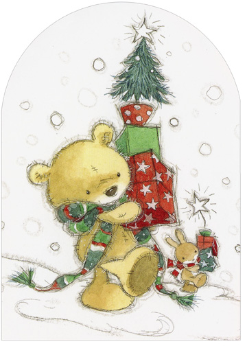 Die Cut Bear and Tree (1 card/1 envelope) - Christmas Card  INSIDE: Bringing you wishes for a Christmas filled with happiness!