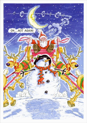 Doomed Snowman (18 cards/18 envelopes) Paper Magic Funny Boxed Christmas Cards - FRONT: Oh.. ..Not Again!  INSIDE: There's no avoiding it.. Christmas is here!!