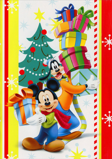 Mickey & Goofy with Gifts (1 card/1 envelope) Paper Magic Disney Christmas Card - FRONT: No Text  INSIDE: Hope your holiday presents include all of these - happiness, love, and bright memories!