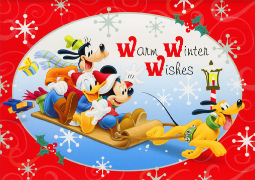 Mickey Characters Sledding (1 card/1 envelope) Paper Magic Disney Christmas Card - FRONT: Warm Winter Wishes  INSIDE: Hoping that your holiday is lots of fun in every way!