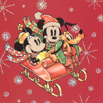 Mickey, Minnie & Pluto in Sleigh (16 cards & 16 envelopes) - Boxed Christmas Cards - FRONT: No Text  INSIDE: Wrap yourself up in the gifts of Christmas and have a great holiday!