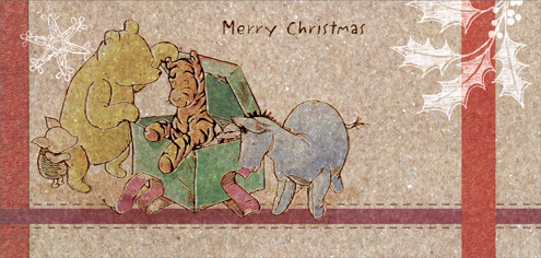 Vintage Winnie & Tigger (16 cards & 16 envelopes) Paper Magic Disney Boxed Christmas Cards - FRONT: Merry Christmas  INSIDE: It's Christmas time.. Time to remember friends like you.