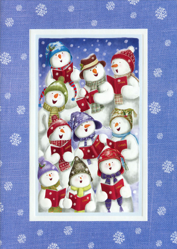 Snow Chorus (1 card/1 envelope) Paper Magic Snowman Christmas Card  INSIDE: We wish you a Merry Christmas and a Happy New Year!