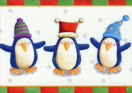 3 Penguins (1 card/1 envelope) Paper Magic Christmas Card  INSIDE: Three cheers for Christmas!