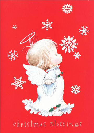 Red Angel (18 cards/18 envelopes) - Boxed Christmas Cards - FRONT: Christmas Blessings  INSIDE: ..to you and those you love.