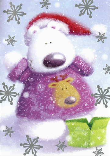 Polar Bear with Gift (18 cards/18 envelopes) Paper Magic Boxed Christmas Cards  INSIDE: Hope your Christmas is full of surprises!
