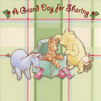 Classic Pooh & Friends on Plaid (1 card/1 envelope) Paper Magic Christmas Card - FRONT: A Grand Day for Sharing  INSIDE: May you share many special moments this Christmas.