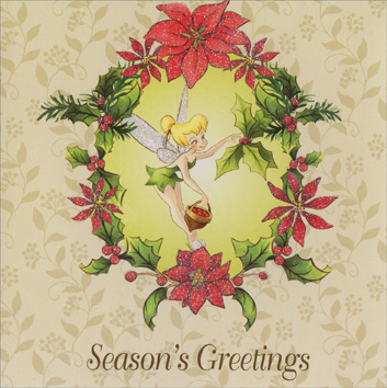 Tinkerbell with Acorn (1 card/1 envelope) - Christmas Card - FRONT: Season's Greetings  INSIDE: Enjoy the magic of the season!