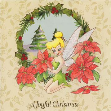 Tinkerbell with Poinsettia (1 card/1 envelope) Paper Magic Christmas Card - FRONT: A Joyful Christmas  INSIDE: Wishing you a Christmas bright with joy!