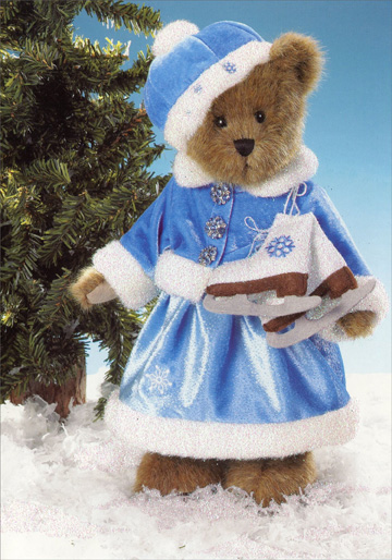 Boyd's Bear Ice Skater (1 card/1 envelope) - Christmas Card  INSIDE: May winter's wonders bring your delight!  Season's Greetings