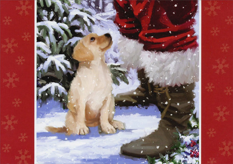 Puppy Looking Up to Santa (1 card/1 envelope) - Christmas Card  INSIDE: Enjoy every magical moment!  Merry Christmas