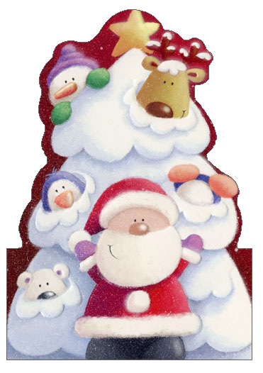 Hiding in Snowy Tree Die Cut (1 card/1 envelope) - Christmas Card  INSIDE: Celebrate the season with the merriest of friends!  Merry Christmas