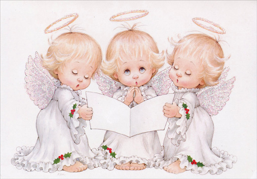 Moorehead Three Angels (1 card/1 envelope) - Christmas Card  INSIDE: May the music of the angels bring joy to your heart at Christmas and always!  Have a Blessed Christmas