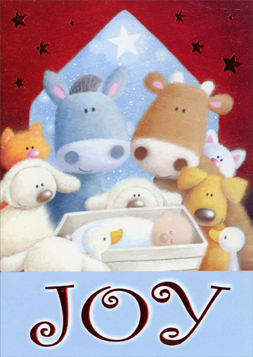 Joy Manger (1 card/1 envelope) - Christmas Card - FRONT: Joy  INSIDE: May you find joy in the gift of this tiny baby who has the power to change our lives forever.  Have a Blessed Christmas