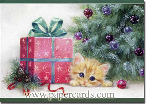 Kitten & Present (1 card/1 envelope) Paper Magic Cat Christmas Card  INSIDE: Wishing you joy in the anticipation of Christmas!