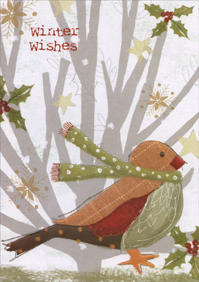 Bird with Scarf (1 card/1 envelope) Paper Magic Christmas Card - FRONT: Winter Wishes  INSIDE: warm winter wishes for a bright and beautiful holiday season!