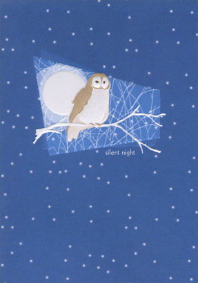 Owl (1 card/1 envelope) - Christmas Card - FRONT: silent night  INSIDE: may you find peace in the quiet beauty of the season.