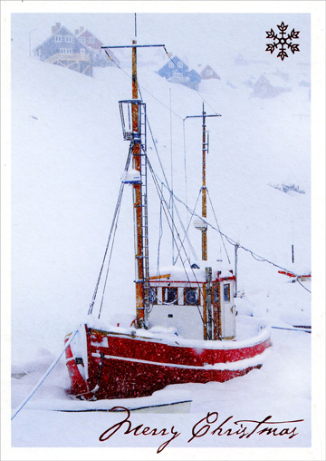 Sailboat in Winter (1 card/1 envelope) - Christmas Card - FRONT: Merry Christmas  INSIDE: Sending friendly greetings for a happy holiday season!