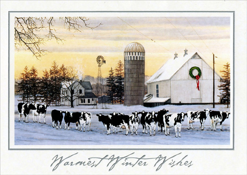 Cows and Barn (1 card/1 envelope) - Christmas Card - FRONT: Warmest Winter Wishes  INSIDE: �and may the new year bring the best of everything!