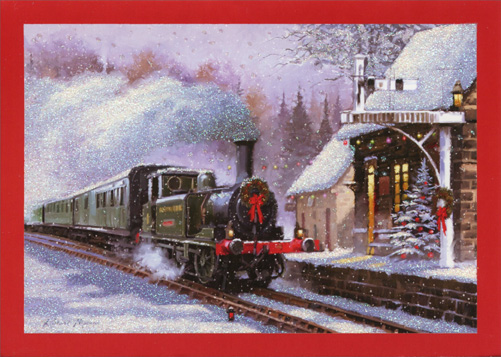 Train (1 card/1 envelope) Paper Magic Christmas Card  INSIDE: Warm wishes for the holiday and may the new year bring the best of everything!