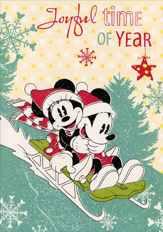 Mickey & Minnie Sledding (1 card/1 envelope) Paper Magic Disney Christmas Card - FRONT: Joyful time of Year  INSIDE: Hurray for Christmas!