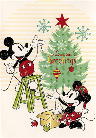 Mickey & Minnie Decorating Tree (1 card/1 envelope) Paper Magic Disney Christmas Card - FRONT: Season's Greetings  INSIDE: It's Celebration Time!