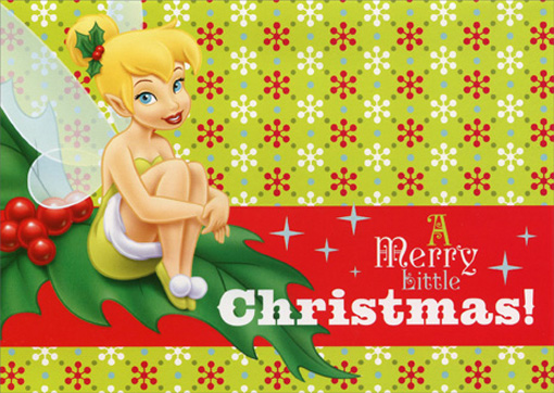 Tinker Bell on Holly (16 cards/16 envelopes) - Boxed Christmas Cards - FRONT: A merry little Christmas!  INSIDE: It's not a Celebration without pixie dust!