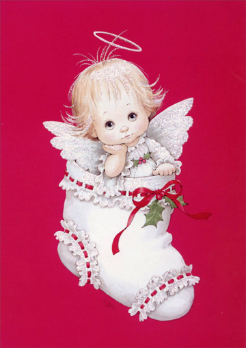 Angel in Stocking (1 card/1 envelope) - Christmas Card  INSIDE: Hope your stocking is filled with everything that makes the season special!