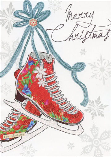 Ice Skates (16 cards/16 envelopes) Paper Magic Boxed Christmas Cards - FRONT: Merry Christmas  INSIDE: Celebrate the wonder of winter and the joy of the season!