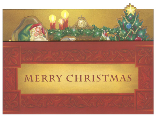 Santa By Fireplace Popup Christmas Money Gift Card Holder
